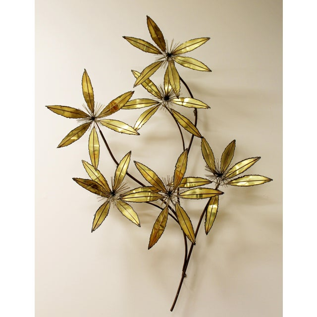 1980s Contemporary Modern Rare Curtis Jere Brass Wall Sculpture Flowers Pom Pom For Sale - Image 5 of 9