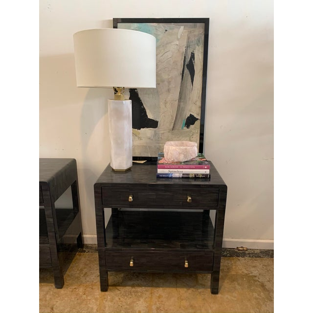 Dark Gray Faux Horn Nightstands From Made Goods-a Pair For Sale - Image 8 of 9