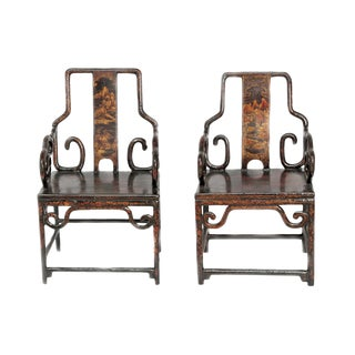 A Pair of Chinese Black Lacquer Armchairs Late 19th Century For Sale