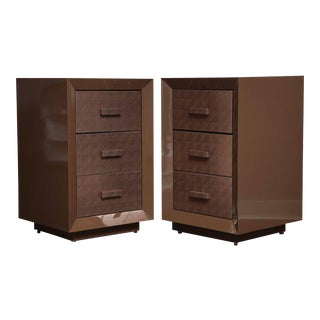 Custom Lacquered Nightstands with Embossed Leather Drawer Fronts For Sale