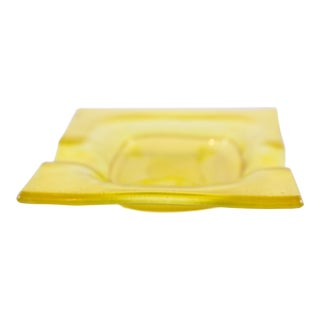 Square Yellow Glass Ashtray For Sale
