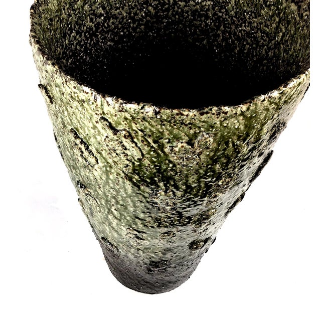 Japanese Wood Fired Contemporary Textural Organic Vase For Sale - Image 4 of 9