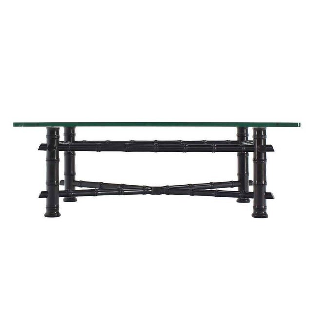 Faux Bamboo Black Lacquer Glass Top Coffee Table For Sale In New York - Image 6 of 7