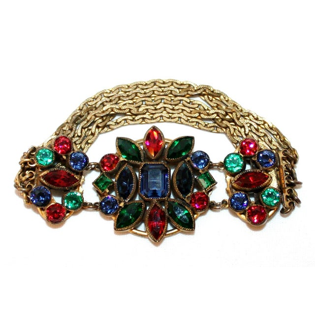 Art Deco 1930s Czech Jewel-Tone Faceted Bohemian Glass Bracelet For Sale - Image 3 of 6