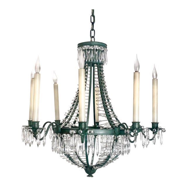 Baltic Metal and Crystal 6 Light Chandelier, Sweden Circa 1920 For Sale