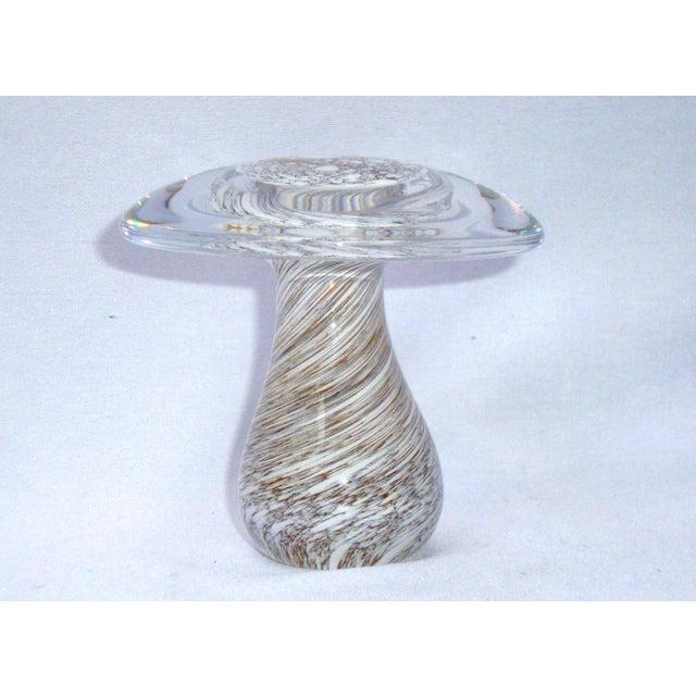 Murano Art Glass Brown White Swirl Mushroom - Image 3 of 11