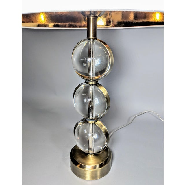 Global Views Crystal Ball Lamp in Brass With Linen & Gold Lined Shade - a Pair For Sale In Providence - Image 6 of 13