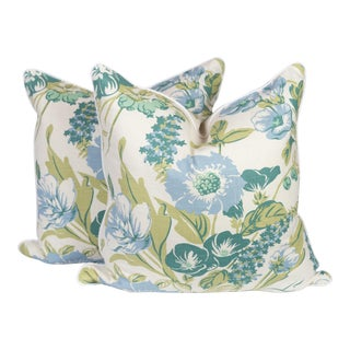 Light Blue and Green Linen Peony Chintz Pillows, a Pair