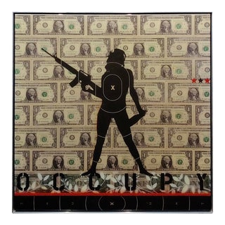 "Elwood T. Risk ""Occupy"" Resin Finish Painting on Panel For Sale"