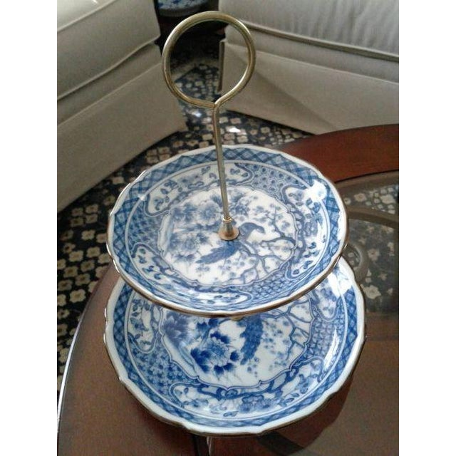 Vintage Oriental Blue Peacock Dessert Tray For Sale - Image 4 of 4