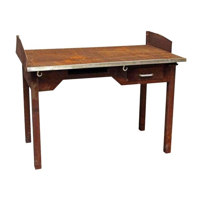 Rusted Metal Industrial Desk - Image 1 of 9