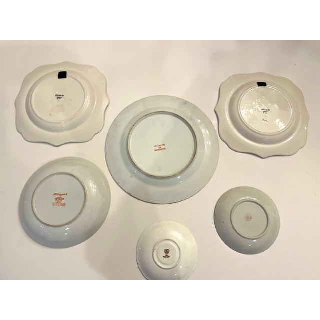 Ceramic Green Asian Mixed Decorative Plates- a Set of 6 For Sale - Image 7 of 8