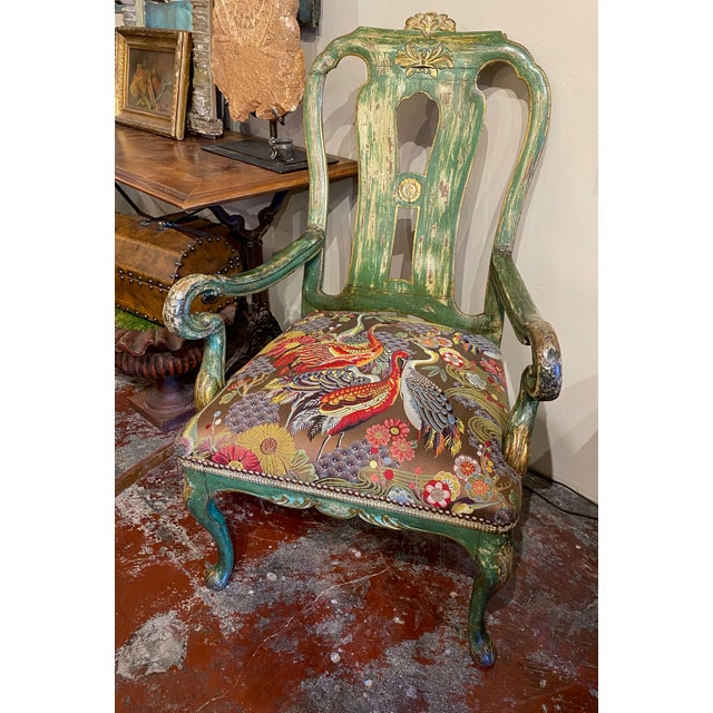 Italian Italian Paint and Gilt Arm Chair For Sale - Image 3 of 10