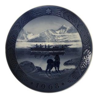 """1968 Royal Copenhagen """"The Last Umiak"""" Christmas Plate Denmark Kai Lange For Sale"""