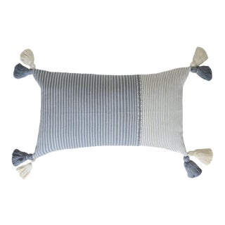 "Dark Gray Striped Pom-Pom Pillow 20""x13"""" For Sale"