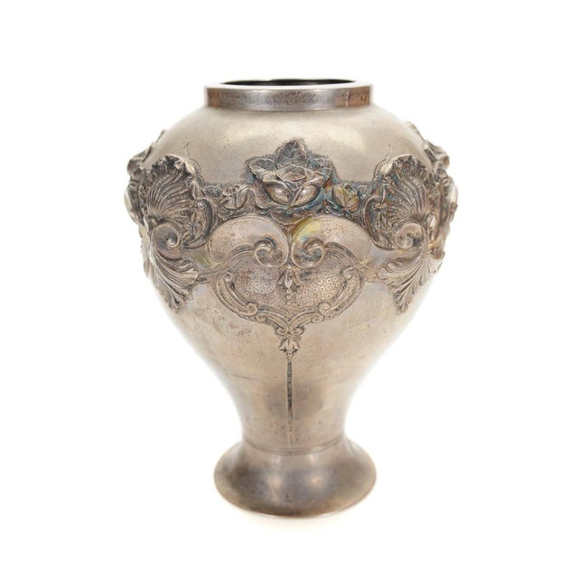 Topazio 19th Century Silver Repousse Vase - Image 3 of 8