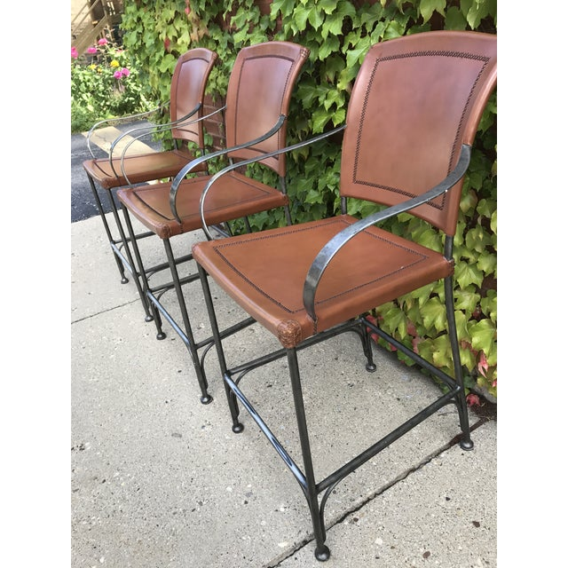 Leather and Metal Bar Stools - Set of 3 - Image 4 of 5