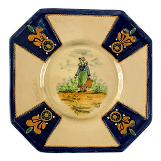 1940's Hb Quimper Decorative Plate For Sale