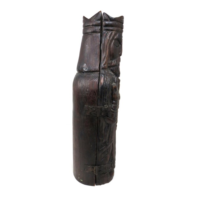 1960s Mid Century Carved Wood Wine Bottle Case For Sale - Image 5 of 13