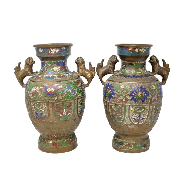 Vintage Bronze Champleve Urns With Foo Dog Handles - a Pair For Sale