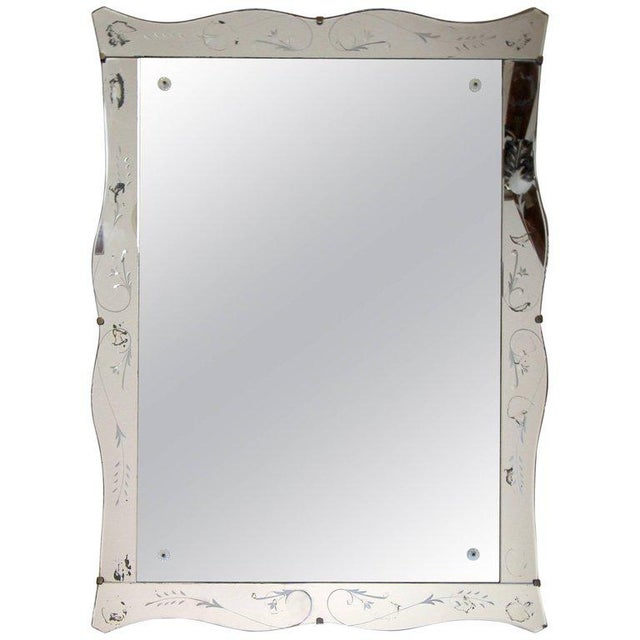1930s Art Deco Scalloped Etched Wall Mirror For Sale - Image 11 of 11
