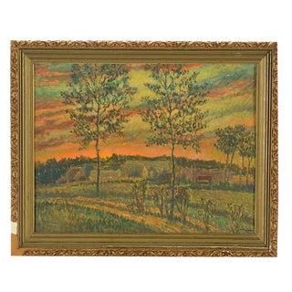 Original Signed Vintage Impressionist Oil/Board By Listed American Artist R. Lahmann-Pastoral Landscape At Sunset For Sale