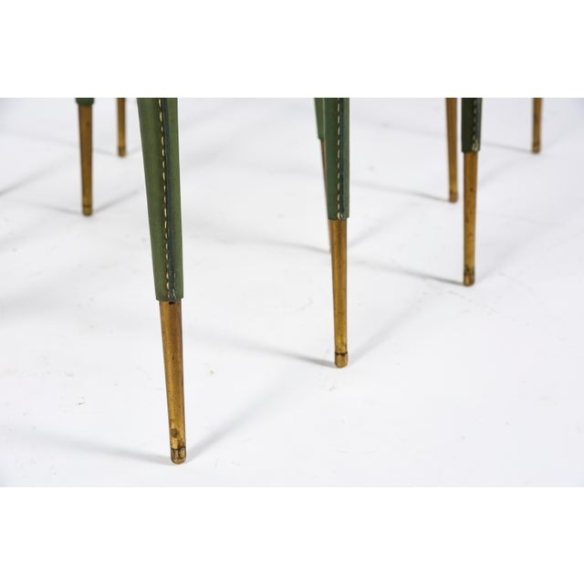 Jacques Adnet Rare Stitched Leather Nesting Tables by Jacques Adnet - Set of 3 For Sale - Image 4 of 9
