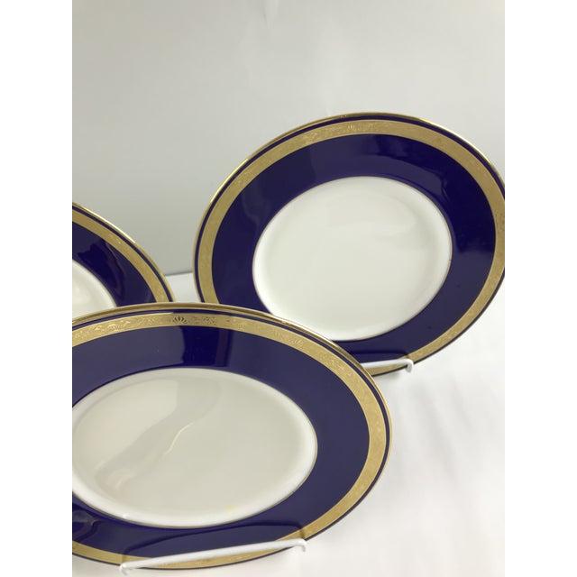 Tiffany Gold & Cobalt Blue Rimmed Dinner Plates - Set of 6 For Sale - Image 9 of 13