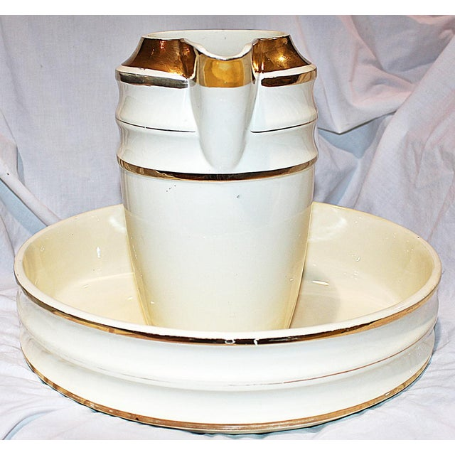 French Deco Terre-De-Fer Pitcher & Bowl For Sale - Image 4 of 9