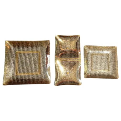Vintage Rojack Glass Dishes with Gold Accents - 3 - Image 1 of 6