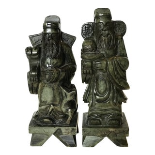 Vintage Chinese Figural Stone Statues Bookends - a Pair For Sale