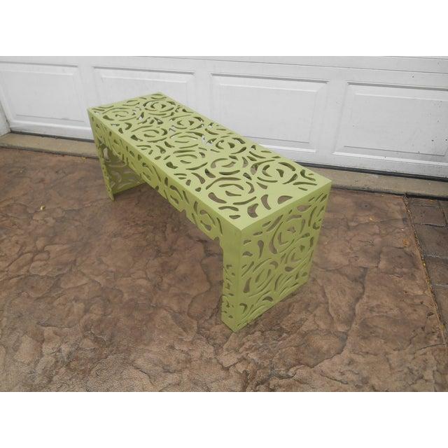 Contemporary Pistachio Iron Patio/Garden Bench For Sale - Image 4 of 9