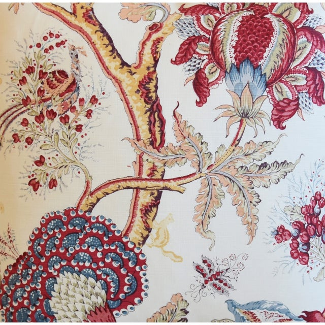 "Designer Bennison Dragon Flower Floral Linen Feather/Down Pillows 22"" Square - Pair For Sale - Image 4 of 12"