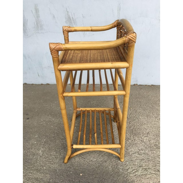 Restored Mid-Century Rattan Three-Tier Book/Magazine Shelf For Sale - Image 4 of 7