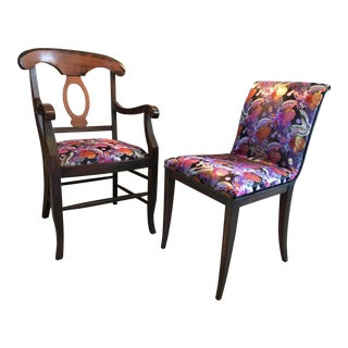 Asian-Inspired Designer Accent Chairs - a Pair For Sale