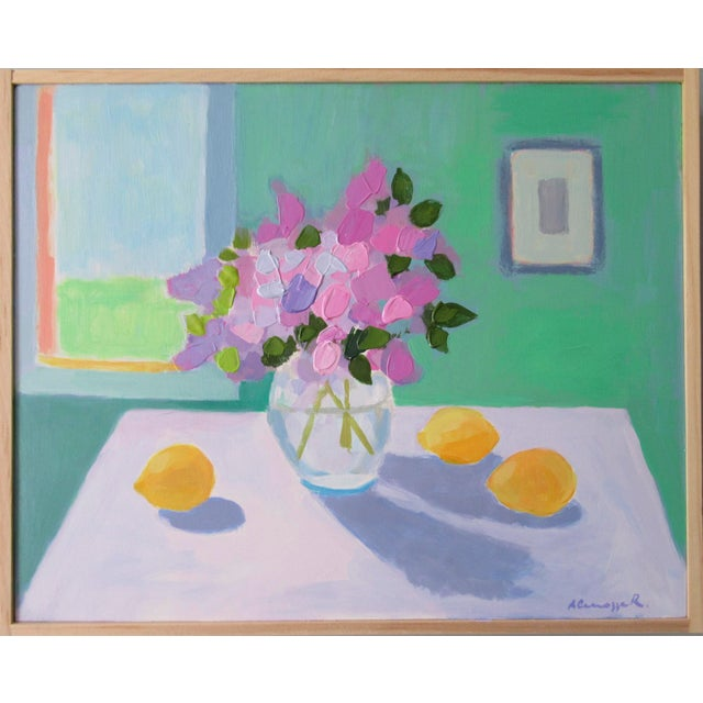 Acrylic Lilac Flowers and Lemons by Anne Carrozza Remick For Sale - Image 7 of 7