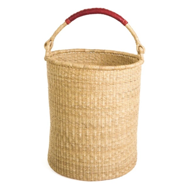 Mid-Century Modern Grass Hamper Basket With Leather Handle For Sale - Image 3 of 3