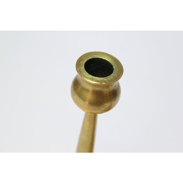 Metal Pair of Petite Mid-Century Modern Turned Brass Candlesticks After Jarvie For Sale - Image 7 of 13