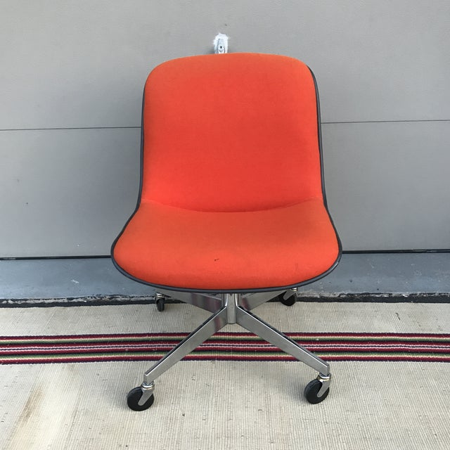 1970s Vintage Steelcase for Knoll Orange Office Chair For Sale - Image 10 of 10