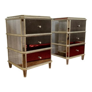 Drexel Heritage Mirrored Side Tables - A Pair For Sale