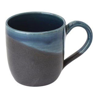 Contemporary Handmade French Blue and Charcoal Mug by FisheyeCeramics For Sale