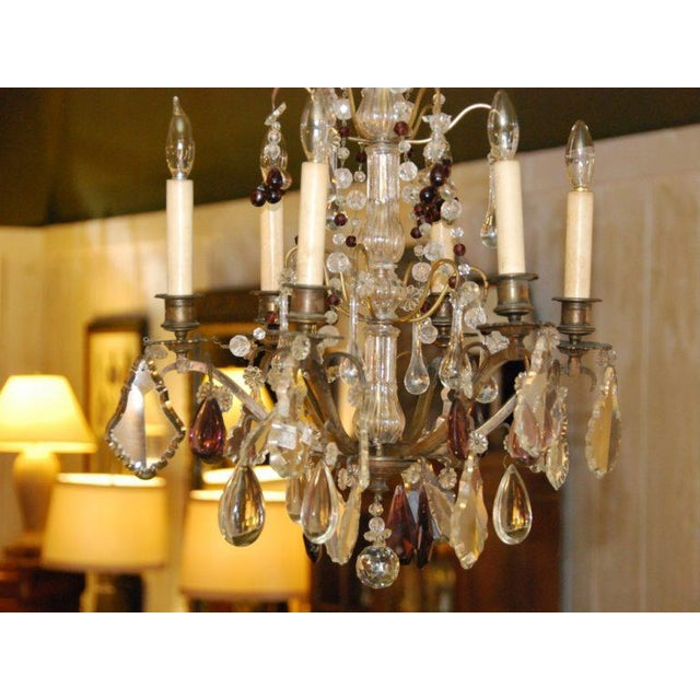 French French Bronze & Crystal Chandelier For Sale - Image 3 of 4