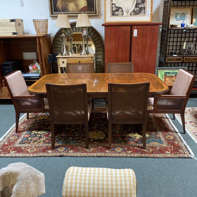 Jonathan Charles Regency Extension Table & Baker Furniture + Custom Chair Dining Set For Sale - Image 13 of 13