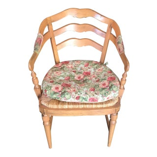 Light Wood Arm Chairs With Natural Rush Seating & Upholstered Cushions For Sale