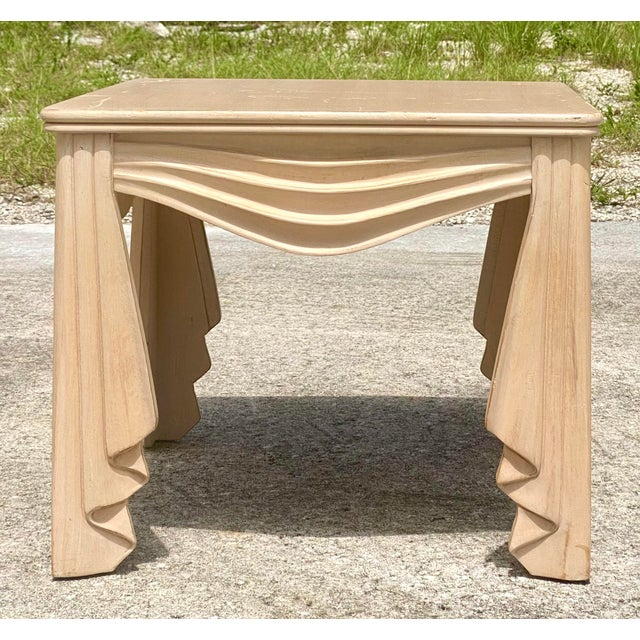 Traditional Vintage Regency Swag Draped Side Table For Sale - Image 3 of 9