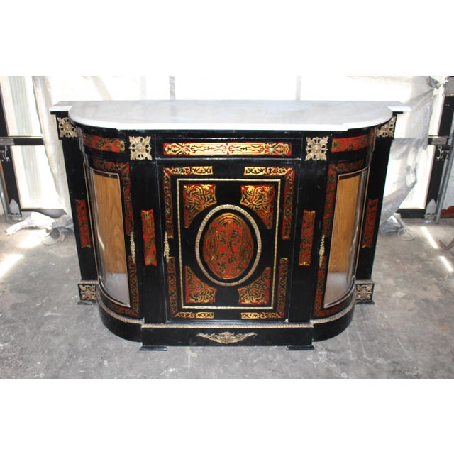 20th Century Louis XVI Boulle Glass Door Cabinet With Marble Top For Sale - Image 9 of 9