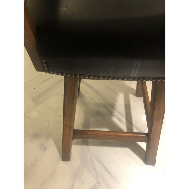 2000 - 2009 Horchow Black Leather/Cowhide Barstool For Sale - Image 5 of 10