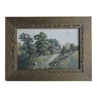 Early 20th C American Watercolor Landscape 1902 in Arts & Crafts Frame For Sale