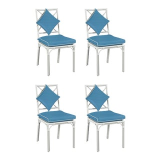 Haven Outdoor Dining Chair, Canvas Sapphire with Canvas White Welt, Set of Four For Sale