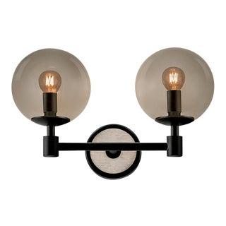 Art Deco Lunar Satin Black and Smokey Glass Double Wall Light For Sale